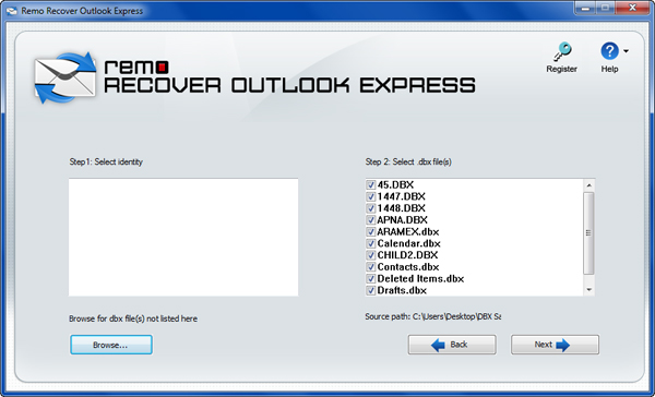 Outlook Express Inbox Repair Tool - Identity Window