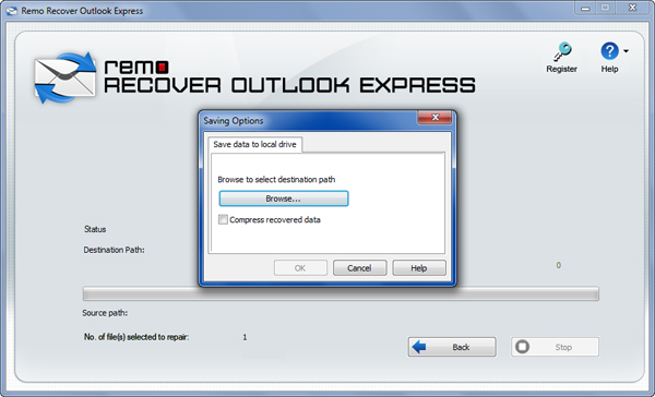 Outlook Express Inbox Fixer - Save Window