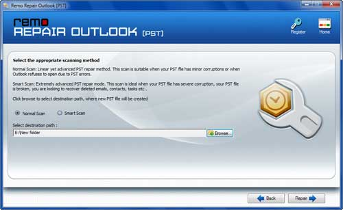 MS Outlook 2010 Inbox Repair Tool - Select the Mode of Scanning